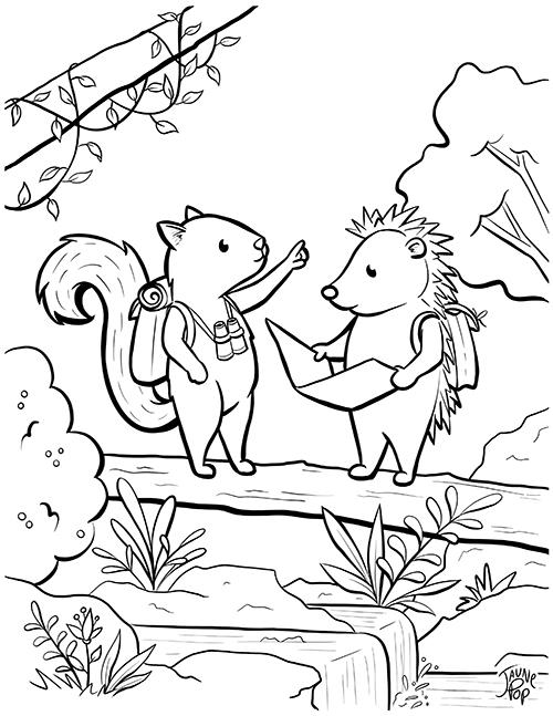 Dessin à colorier gratuit d'un Hérisson et un écureuil dans la forêt
