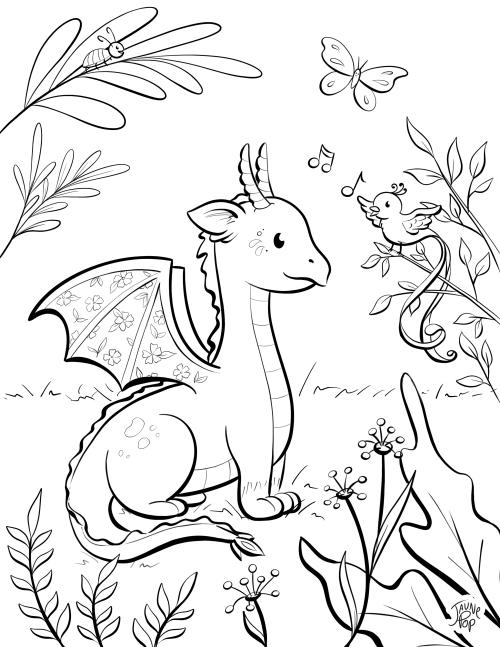 Dessin à colorier d'un dragon et d'un oiseau