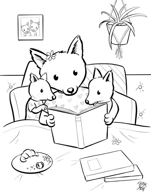Dessin à colorier pour la Fête des mères d'une maman renard qui lit un livre à ses enfants