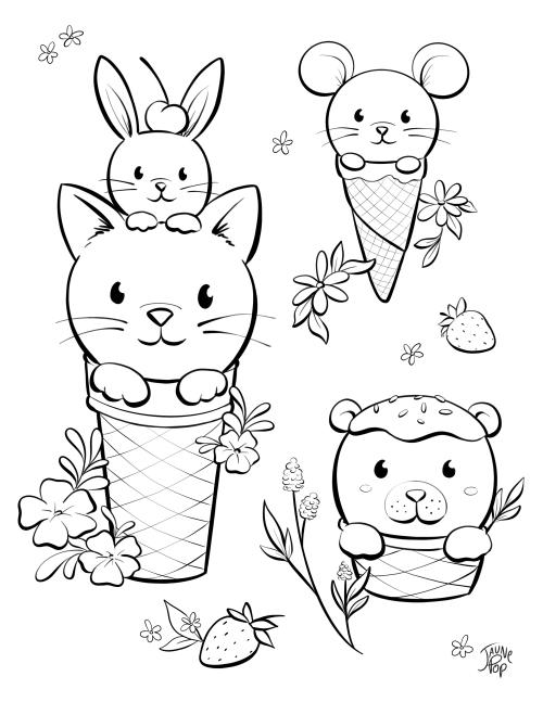 Dessin à colorier de crèmes glacées en forme de chat et souris
