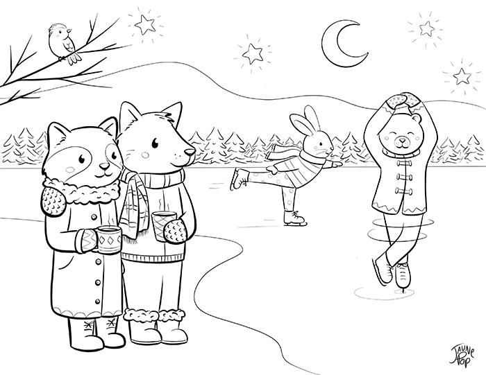 Dessin à colorier Ours et lapin qui patinent, loup et raton avec un chocolat chaud