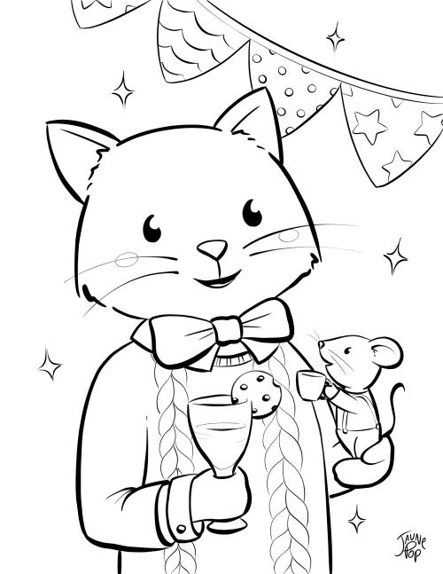 dessin à colorier célébration chat et souris